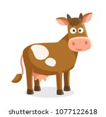cartoon cow isolated   Shutterstock .eps vector #1077122618