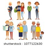 set of young and senior people. ... | Shutterstock .eps vector #1077122630