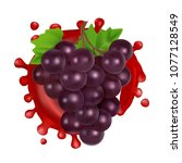 bunch of grapes with red wine.... | Shutterstock .eps vector #1077128549