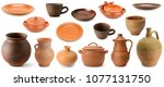 collection clay and pottery... | Shutterstock . vector #1077131750