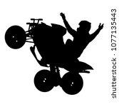 silhouette of the motorcyclist... | Shutterstock .eps vector #1077135443