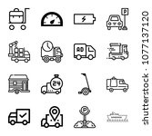 set of 16 transport outline... | Shutterstock .eps vector #1077137120