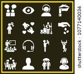 set of 16 people filled icons...   Shutterstock .eps vector #1077140036