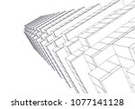 architectural drawing 3d  | Shutterstock .eps vector #1077141128