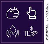 set of 4 hand outline icons... | Shutterstock .eps vector #1077152573