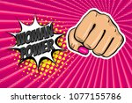 woman fist   girl power strong... | Shutterstock .eps vector #1077155786
