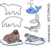 Set of different cartoon animals of polar fauna on white background