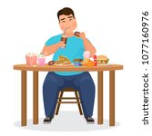 funny fat obese man eating... | Shutterstock .eps vector #1077160976
