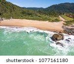 beach in balneario camboriu ... | Shutterstock . vector #1077161180