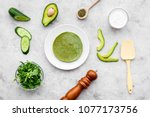 make spinach pancakes. grey... | Shutterstock . vector #1077173756
