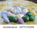 milky quartz crystal. soothing... | Shutterstock . vector #1077174290