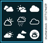 set of 9 cloudy filled icons... | Shutterstock .eps vector #1077174659