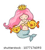 cute princess mermaid with... | Shutterstock .eps vector #1077176093