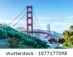 scenic view of the golden gate... | Shutterstock . vector #1077177098