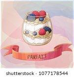 parfait dessert with berries... | Shutterstock .eps vector #1077178544