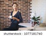 positive smiling business woman ... | Shutterstock . vector #1077181760
