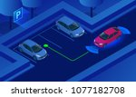 isometric parking assist system ... | Shutterstock .eps vector #1077182708