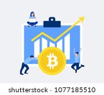 bitcoin growth concept. bitcoin ... | Shutterstock .eps vector #1077185510