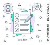 quiz  test modern flat color... | Shutterstock .eps vector #1077195236