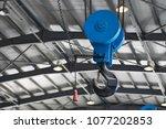 blue metallic industrial hook...   Shutterstock . vector #1077202853