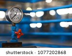 close up of a pressure gauge... | Shutterstock . vector #1077202868
