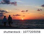 sunrise on the caribbean sea...   Shutterstock . vector #1077205058