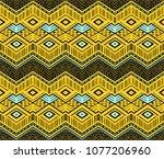 ikat geometric folklore... | Shutterstock .eps vector #1077206960