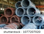 cable wire in the factory | Shutterstock . vector #1077207020