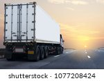 truck on highway road with... | Shutterstock . vector #1077208424