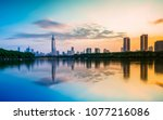nanjing xuanwu lake financial... | Shutterstock . vector #1077216086