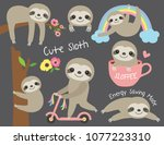 vector illustration of cute... | Shutterstock .eps vector #1077223310