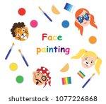 face painting for kids... | Shutterstock .eps vector #1077226868