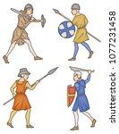 medieval manuscript soldiers | Shutterstock .eps vector #1077231458
