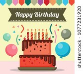 happy birtday card design with... | Shutterstock .eps vector #1077231920