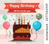 happy birthday card design with ... | Shutterstock .eps vector #1077231929