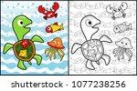 marine life cartoon with turtle ...   Shutterstock .eps vector #1077238256