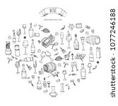 hand drawn wine set icons... | Shutterstock .eps vector #1077246188