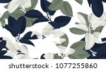 Stock vector floral seamless pattern blue green and white ficus elastica rubber plant on white background 1077255860