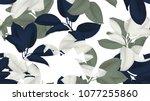 floral seamless pattern  blue ... | Shutterstock .eps vector #1077255860
