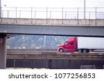 big rig red classic american... | Shutterstock . vector #1077256853