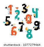 set of cute number characters... | Shutterstock .eps vector #1077279464