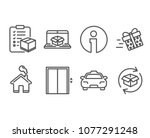 set of present delivery  lift... | Shutterstock .eps vector #1077291248