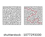 abstract square maze. simple... | Shutterstock .eps vector #1077293330