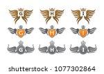 wing crown design template set   Shutterstock .eps vector #1077302864