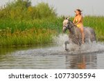 summer  river. a girl in a... | Shutterstock . vector #1077305594