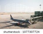 Small photo of AMMAN, JORDAN - MAY 3, 2017: Royal Jordanian Aircraft Parking lot at Luxury queen alia international airport.