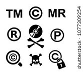 copyright and piracy icon set... | Shutterstock .eps vector #1077309254