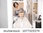 professional female hairdresser ... | Shutterstock . vector #1077325274