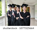 group of multiethnic students... | Shutterstock . vector #1077325664