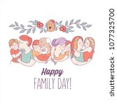 happy family day.  mom  dad ... | Shutterstock .eps vector #1077325700